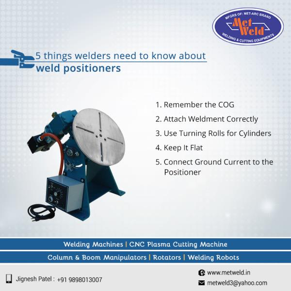 5 things welders need to know about weld positioners  1. Remember the COG 2. Attach Weldment Correctly 3. Use Turning Rolls for Cylinders 4. Keep It Flat 5. Connect Ground Current to the Positioner  #Welding-Positioner #Welding-Positioner-Manufacturers #Welding-Positioner-suppliers #Welding-Positioner-suppliers-Ahmedabad #Welding-Positioner-in-Ahmedabad  W:http://metweld.in/   M:+91-9998999589