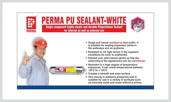 Polyurethane Sealant  Single component highly elastic and durable Polyurethane Sealant for internal as well as external use  DESCRIPTION Perma PU Sealant – White is a highly flexible and durable Polyurethane Sealant which is ideal for sealing joints in internal as well as external surfaces of the building. Perma PU Sealant – White has good adhesion to a variety of building materials and surfaces.  USES Perma PU Sealant – White is used in expansion joints internally and externally. It is ideal for use at the junction of precast elements of building. It is used for sealing joints between dissimilar materials such as metal, wood concrete etc.  ADVANTAGES 1.	Perma PU Sealant – White is tough and hence resists foot traffic. It is suitable for sealing expansion joints in the walkways and on podiums. 2.	Perma PU Sealant – White is resistant to UV light hence in the exposed conditions its color is unaffected. 3.	Perma PU Sealant – White can be painted over with enamel paints so that the uniformity of the appearance can be mentained. 4.	Perma PU Sealant – White is resistant to a high degree of temperature exposures. It can resist temperatures between -30°C to +120°C. 5.	Perma PU Sealant – White is very strong in adhesive properties and is suitable for use in a variety of surfaces such as concrete metal and wood without a primer. 6.	Upon curing Perma PU Sealant – White creates a smooth and even surface