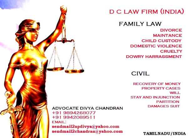 Civil Lawyer in Coimbatore , Advocate Divya Chandran , D C Law firm