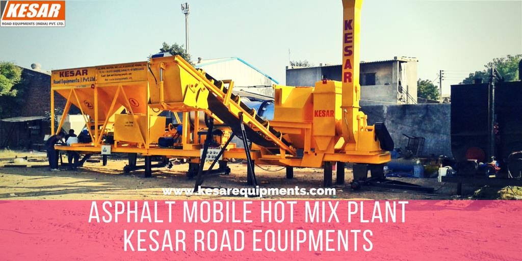 Asphalt Mobile Drum Mix Plant Manufacturer And Supplier In MadhyaPradesh, AndhraPradesh, India.  Kesar Road Equipments Manufacturer Of Asphalt Drum Mix type Hot Mix Plant In Mehsana, Gujarat, India.  www.kesarequipments.com