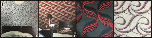CHIC Wallpaper Supplier  Various Wavy textures wallpaper from Catalogue Chic.  Most demanded BLACK N RED combination wallpaper for your BEDROOM.  Contact WALL PARADISE CHIC Wallpaper Supplier