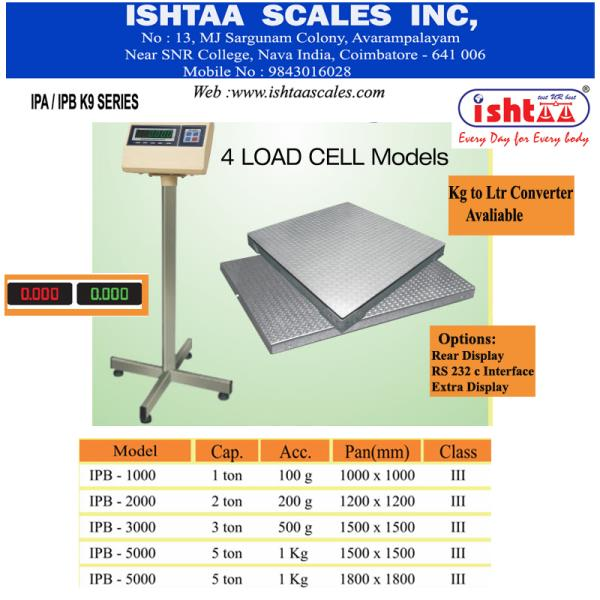 Ishtaa Scales Inc -  Weighing Scale  manufacturer in  Coimbatore. Has WIDE Dealers & Distributors across SOUTHERN INDIA. Heavy duty digital Weighing Scales with Special Features & Desired Specifications are AVAILABLE here.  ISHTAA - 4 Load Cell Heavy Duty Scale  Highly Rigid.. 100% Efficiency.. #Kg to Ltr Conversion Available   Recommended Heavy weight Scale for all types of Heavy Duty Applications  #Industrialweighing #WeighingScaleforSteelFactories #Parcelweighing #CargoWeighing #Heavyduty Weighing #Harbourweighing #1TonWeighingscale #2Tonweighingscale #3Tonweighingscale #4Tonweighingscale #5Tonweighingscale #IshtaaWeighing #Scales #AccurateWeighing #AccurateScale #Weighing  To Know More Visit : https://goo.gl/z6ym8x  CALL: 09843016028