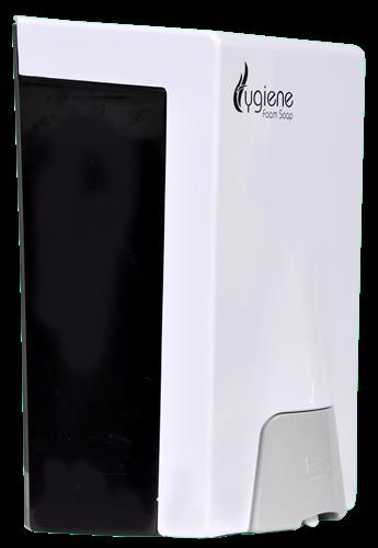 Hygiene Foam Soap Dispenser  Hygiene Foam Soap Dispenser is a simple dispenser with anti-microbial Press Button which prevents cross contamination with the surface.  Indo Technologies Is  One Of The Largest and oldest Distributors of Washroom Hygiene and cleaning Products like Hygiene Foam Soap Dispenser