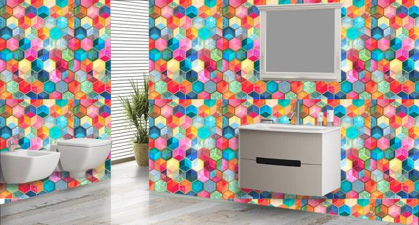 Adorn the walls of your bathroom with this superb multicolored hexagonal designer customized wall tiles. These wall tiles can be used to decorate the walls of your bathroom. These wall tiles will give an exquisite and elegant look to your bathroom. The best feature about these wall tiles is that they are super easy to clean and are 100% water proof and heat resistant.   We also customize the design as per your wish and requirement.   We are the only tile dealers in entire South Asia to provide you with these new and exclusive customized bathroom wall tiles.