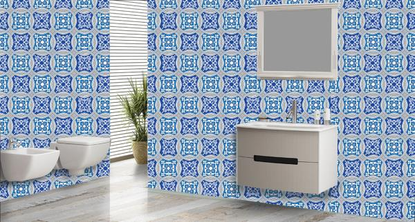Transmit an eminent look to your bathroom with these superb shades of blue chequered design bathroom wall tiles. These new 3d customised bathroom wall tiles will give a royale look to your bathroom.  The best feature about these wall tiles is that they are super easy to clean and are 100% water proof and heat resistant.   We also customize the design as per your wish and requirement.   We are the only tile dealers in entire South Asia to provide you with these new and exclusive customized bathroom wall tiles.