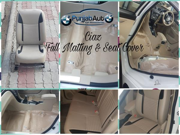 As per the current trend of full matting and leather seat cover getting fitted simultaneously , we have recently fitted DOLPHIN LEATHER SEAT COVERS with BUCKET FITTING and FULL FLOOR MATTING LEATHER type in MARUTI CIAZ. Which not only gives an Elegant look and Comfort and Style but also its very very essential for the inner Neatness and Cleanliness of the car.  * Fully Washable  * Just wipe it off with a wet cloth * Very very durable and comfortable too.