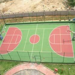 Basketball Court Flooring  We C3Serface are manufacturing and supplying of  Basketball Court Flooring in Mumbai.  As well as in India. with our expertise in this domain, we are able to offer a superior quality range of flooring for Basketball Court Floorings. Our professionals manufacture these court floorings, which suits interior and exterior applications. Surface of these floorings are manufactured to meet the diverse requirements of municipalities, schools and recreation facilities. The offered floorings find wide applications in courts of games like volleyball, kickball, basketball, and soccer. Moreover, non-skid textured color coating system are used for asphalt and concrete surfaces. Owing to the features like nine vibrant standard colors, resistance against uv & weather, 100% acrylic resins, low maintenance cost, these are appreciated in the market.    Type	Variants	Variantswith in each Outdoor	Synthetic	Deco system cushion & non cushion system. Indoor	1:Synthetic