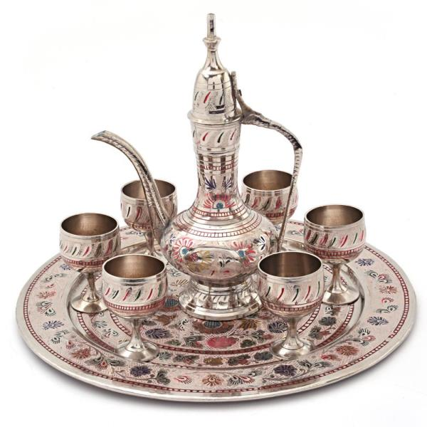 Pure Brass Antique Royal Handicraft Wine Set   To view the product details click on below given link:  http://littleindia.co.in/pure-brass-antique-royal-wine-set-handicraft-155/p387