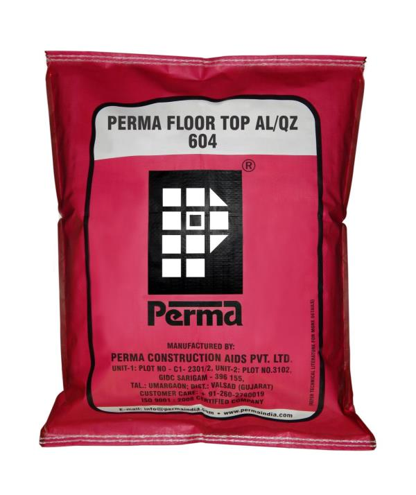 Non Metallic Floor Hardener  Concrete Floor Hardener Compound  NON METALLIC QUARTZ BASED FLOOR HARDENER DESCRIPTION Perma Floor Top QZ is a floor hardening compound based on non metallic aggregates a blend of ordinary portland cements and activating chemicals. Perma Floor Top QZ is for use on green concrete of industrial floors to achieve high abrasion and impact resistance properties on the finished floors. Perma Floor Top QZ is based on non metallic aggregates  PERMA FLOOR TOP QZ Perma Floor Top QZ is based on non metallic quartz aggregates. Perma Floor Top QZ treated floors are ideal for places where chemical spillages are expected, and where metallic aggregates are not desired. Perma Floor Top QZ is used in concreting of floors for laboratories, chemical factories, breweries, shopping centers, super markets etc. PRIMARY USES Perma Floor Top QZ product are designed for high abrasion and impact resistance properties to the concrete floors. DIRECTIONS FOR USE After floor concreting when the concrete is firm to take the weight of workman sprinkle Perma Floor Top QZ at the desired rate on the green concrete and trowel it in with metal floats or power trowel. Care should be taken to see that concrete surface is just ready to receive dry shake powder. If delayed too much it will become unworkable and if Perma Floor Top QZ is sprinkled too early it will get mixed with the concrete and loose its utility. Sprinkling of Floor Top should be controlled such that an uniform quantity of the product is sprinkled throughout. It may be suggested that broadcasting of Perma Floor Top QZ be done in two stages. The second stage of broadcasting done in a perpendicular direction to the first stage broad cast.