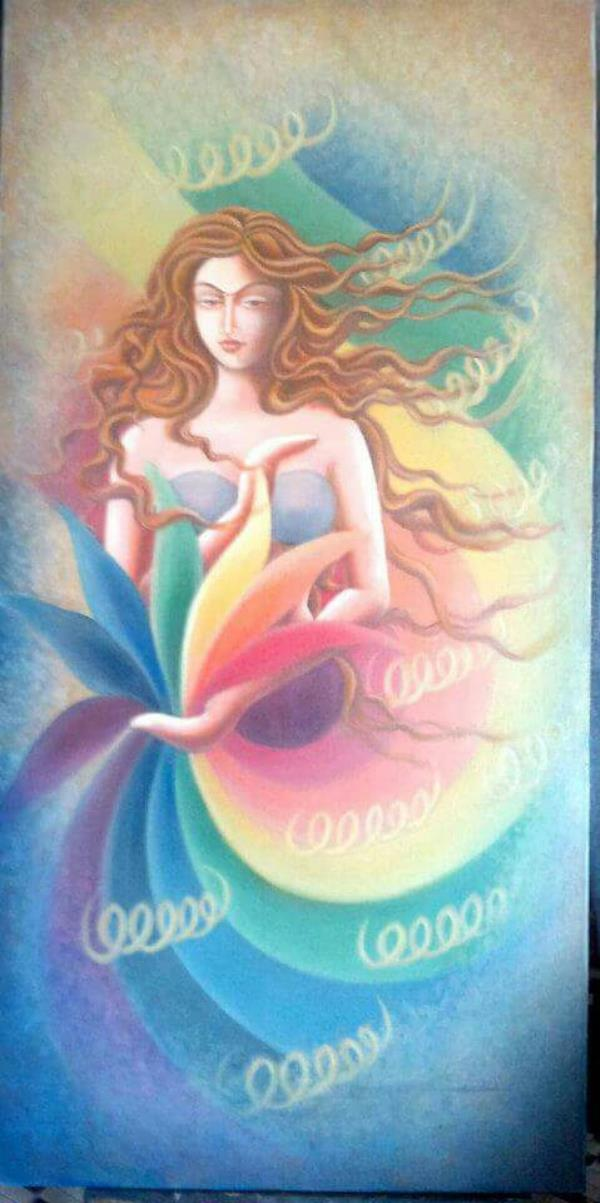 Oil Colour on Canvas Holding Seven Budes symbolises our Seven Chakras , which merges in Rainbow , close to Enlightenment.