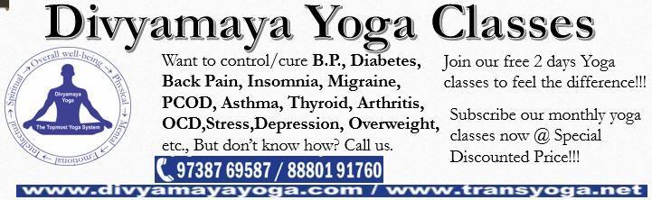 Want to control or cure High Blood Pressure, Low Blood Pressure, Diabetes, Back Pain, Insomnia, Migraine, Asthma, ADD / ADHD, OCD, PCOD, Thyroid, Arthritis, Stress, Depression, Anxiety,  Inflammation, Overweight, etc., But don't know how? Call us.   Join our 2 days free Yoga classes to feel the difference!!!   Subscribe to our monthly yoga classes in Bangalore near Nagarbhavi, Bharat Nagar II Stage, now @ Special Discounted Price!!!