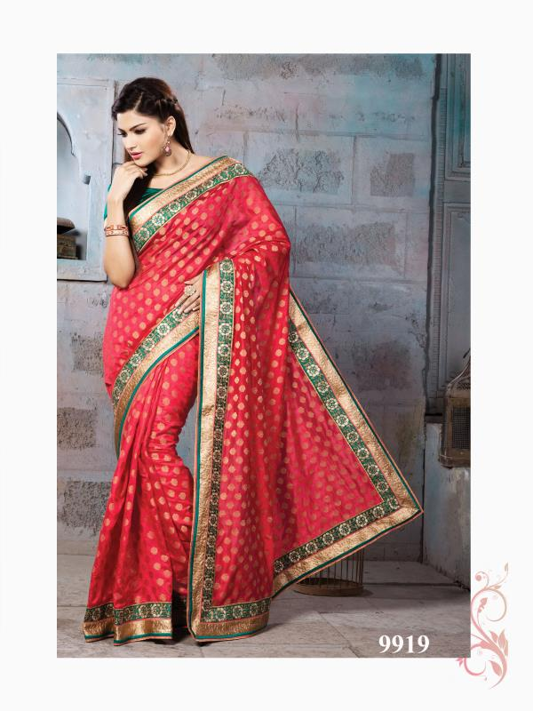 Silk Fancy Saree  Delightful Red color saree planed on self zari silk with Nylon Banarsi Zari Jacquard is pleasing appearance. Outfit is feminine and cute in appearance  http://www.silk-india.com/en/designer-sarees/1026--yellow-faux-georgette-brasso-saree-with-blouse.html