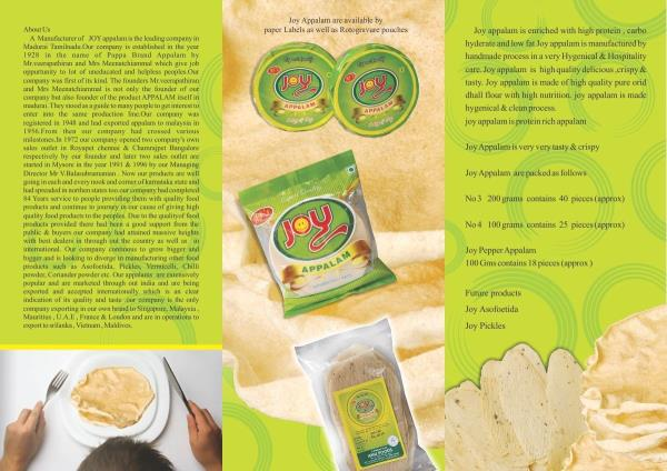 Anu Appalam and Joy Appalam - buy quality papad wholesale for domestic or international markets at best price.   It is the very own popular brand of Anufoods - the leading Appalam Manufacturers in Madurai, continuously recognized as leading Appalam Exporters in Madurai, India.   for details,  http://anufoods.in  Appalam Wholesalers in Madurai, Appalam Manufacturers in Madurai, Appalam Exporters in India, Appalam Suppliers in India.
