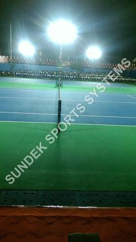 Tennis Court Lights  We Sundek Sports Systems are manufacturers of Tennis Court Lights in Mumbai.  As well as in India. Being the leading names in the industry, we are offering an extensive range of Tennis Court Lights services to our clients, parks, gardens and many such places. These are made using high quality aluminum and is available in siemens gray color. Highly admired by our customers, these are supplied in thermocol packing and can be purchased by our clients at reasonable rates.  Features:  Easy installation Slip resistance Minimum maintenance