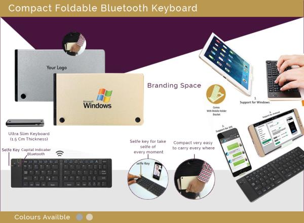 Bluetooth Foldable Keyboard is easy to use.It's' ergonomic design makes it attractive and can be carried along easily. The unique product is slim and comes in two elegant colors. The foldable Bluetooth keyboard is compatible with iOs, windows, and Android systems. The keyboard has a built-in rechargeable Li-polymer battery which makes it light and recharable. It's a perfect corporate gift and a Diwali Giveaway. The foladable keyboard is packaed in a neta top and bottom box and has EC Technology Foldable Bluetooth keyboard, USB charging cable, user manual.