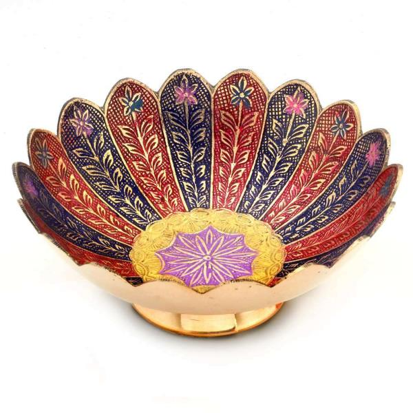 Buy Pure Brass Meenakari Work Fruit Bowl Handicraft Online in Ajmer  This oval bowl is made of pure Brass and its inside surface is decorated with colourful Meenakari work.   Click on the below link to view the product:  http://littleindia.co.in/pure-brass-minakari-work-fruit-bowl-handicraft-209/p400