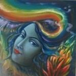 Buy beautiful painting with Rainbow Om at Uchaan Art  art gallery l gurugram