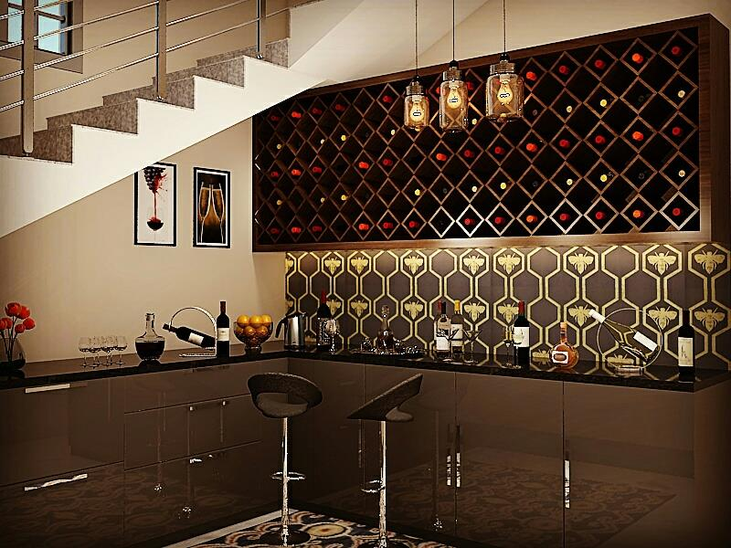 Area under staircase is always a challenge to use. We at Kalky interior helps you to make best use of such dead areas. Bar has been designed under staircase at one of our site.