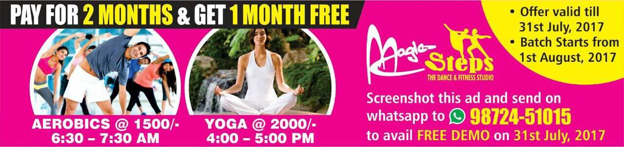 The countdown begins - last 7 days left ! Pay for 2 months & get 1 month free ! Aerobics 6:30-7:30 am ! Yoga 4-5 pm ! Batch starts from 1 Aug ! Valid till July 31. more 9872451015