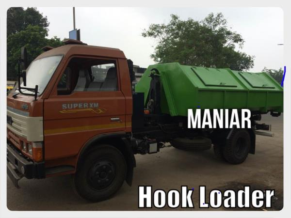 Hook Loader for garbage collection from small town, cities. Very useful and efficient. Developed on Swaraj Mazda. Can be mounted on Tata, Ashok Leyland, Mahindra, Eicher.