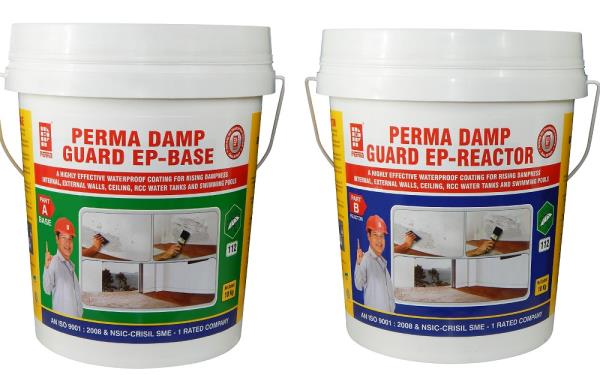 Building Waterproofing Chemical  Perma Damp Guard- EP is  A Highly Effective Water Based Epoxy Waterproof Coating For Internal, External Walls, Ceiling, Rcc Water Tanks And Swimming Pools.  Perma Damp Guard- EP is a two component water based epoxy coating product highly useful in arresting leakages in walls, ceiling, RCC structures and rising dampness in internal walls. It is a user friendly and easy to use. The coated area exhibits Hydrophobic characteristics.  APPLICATION  Highly effective in arresting rising dampness. Waterproofing of RCC structures, water tanks and swimming pools etc. Walls and ceiling waterproofing. Waterproofing of toilets, lift pits, kitchen. Primer for paint on internal and external surfaces. Waterproofing of hygienic structures like hospitals, pharmaceutical and food processing industries and hatcheries.  ADVANTAGES  Based on water dispersible epoxy hence can be diluted and washed away with water. It is economical when compared with conventional epoxies. It is water based hence zero VOC and is environment friendly. The film formed is tough and has strong adhesion to all building materials.