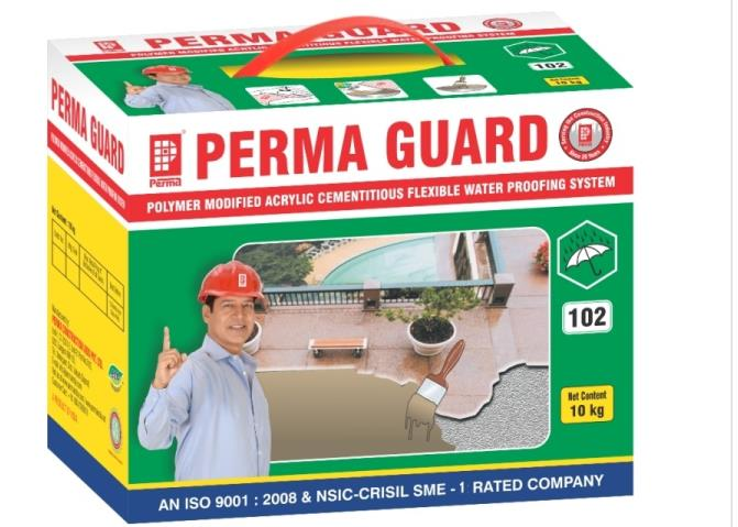 Waterproof Elastomeric Coating  An Acrylic Elastomeric Two Component Waterproof Coating System   Perma Guard is a polymer modified cementitious acrylic water proofing system with a very wide scope of applications in water proofing and corrosion inhibition situations. Perma Guard is a two component material which forms a flexible reinforced membrane upon curing.  Perma Guard has been found to perform exceptionally well with following applications:  RCC terrace waterproofing. Sealing leakage through cast iron, asbestos or stoneware pipes. Coating on bridge girders and under deck waterproofing of bridges. Sealing cracks in asbestos cement sheets and sealing 'J' bolt openings. Coating on leaky plaster surfaces. Podium slab waterproofing. Basement retaining wall. To waterproof water tanks and swimming pools.