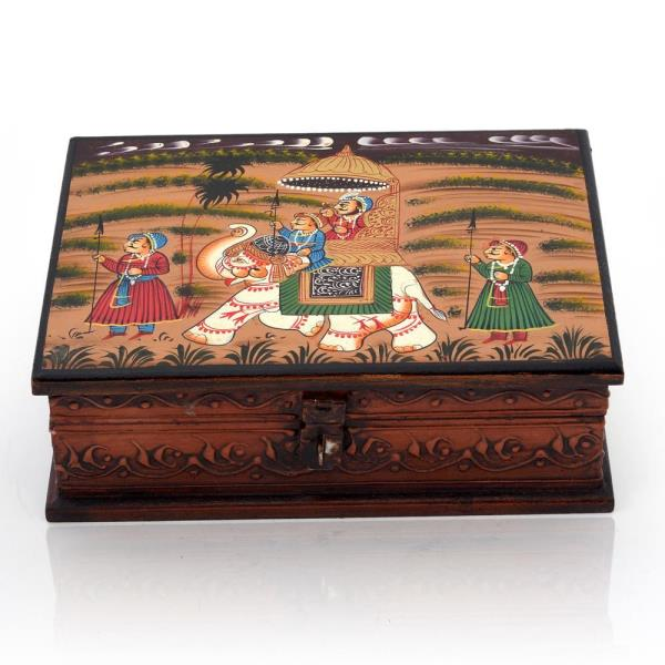 Buy Wooden Hand Painted Dhola Maru Jewellery Box Online in Aligarh  This Handcrafted Jewellery Box is made of wood and is decorated with handmade traditional dhola maru Painting. The gift piece has been prepared by the creative artisans of Jaipur. This utility item can also be used as a show-piece in your drawing room. It is also an ideal gift for your friends and relatives.  Click on the below link to view the product:  http://littleindia.co.in/wooden-hand-painted-dhola-maru-jewellery-box-330/p678