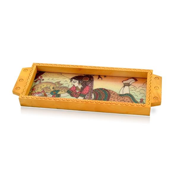 Buy Jaipuri Gemstone Painted Wooden Serving Tray Online in Aligarh  This Handcrafted serving Tray is made of wood and adorned with traditional Gemstone Meera Painting. The painting is hand made with finely crushed real gemstones on a glass base. The gift piece has been prepared by the creative artisans of Jaipur.   It is an ideal utility item to serve your guests or for your day to day use. It is also an ideal gift for your friends and relatives.  Click on the below link to view the product:  http://littleindia.co.in/jaipuri-gemstone-painted-wooden-serving-tray-338/p456