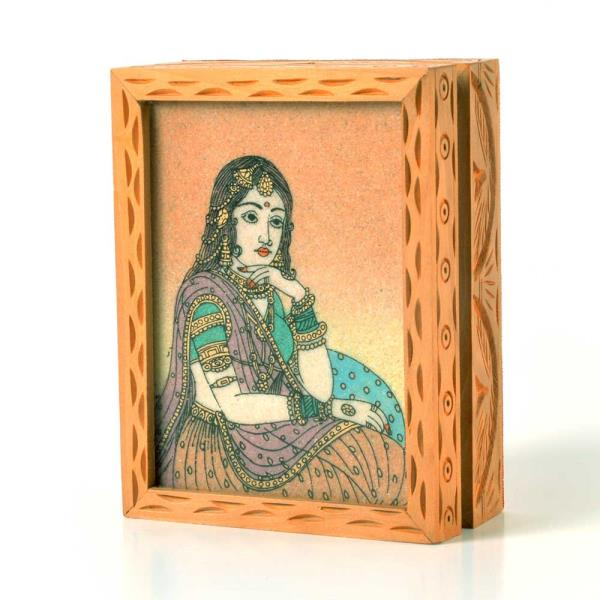 Buy Precious Real Gemstone Ragini Painting Jewelry Box Online in Aligarh  This Handcrafted Jewellery Box is made of wood and decorated with Gemstone Painting. The painting is hand made with finely crushed real gemstones on a glass base. The gift piece has been prepared by the creative artisans of Jaipur. This handcrafted Jewellery box is an ideal utility item to keep and showcase your valuable jewellery.  Click on the below link to view the product:  http://littleindia.co.in/precious-real-gemstone-ragini-painting-jewelry-box-440/p461