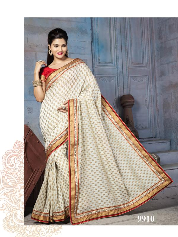Phenomenal Cream colour checks print saree is fabricated on Nylon Banarsi Zari Jacquard silk with self zari woven print is increasing its beauty with charm.  http://www.silk-india.com/en/designer-sarees/824-beige-poly-saree-with-traditional-heavy-zari-cod-dori-embroidery-blouse-.html