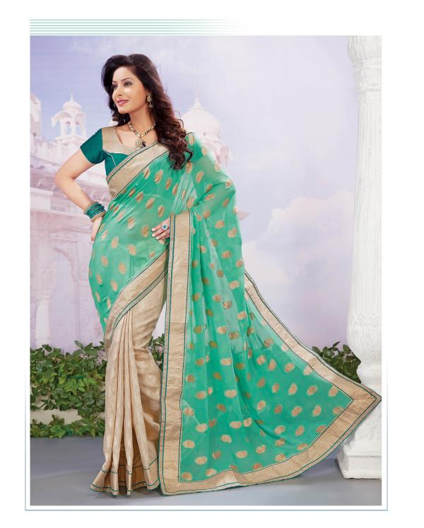 Fancy Designer Party Wear Sarees  Be the cynosure with this Half-half, Faux Georgette Jacquard and Art Silk Jacquard Saree. The outfit is resplendent in shades of Teal Green and Beige.  http://www.silk-india.com/en/designer-sarees/551--yellow-faux-georgette-brasso-saree-with-blouse.html