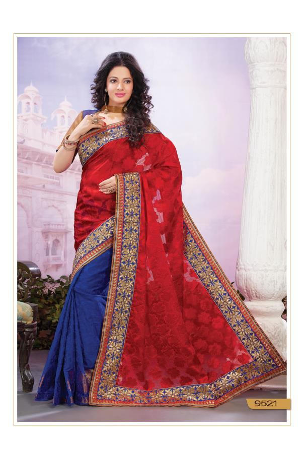 Be all prepped for the festive season adorning this Nylon Brasso and Art Silk Jacquard Half-half Saree. This drape in Red and Dark Blue is highlighted with Floral and Ornamental motifs woven in Golden Zari along the pleats border.   http://www.silk-india.com/en/designer-sarees/775--yellow-faux-georgette-brasso-saree-with-blouse.html