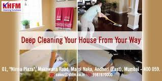 House Cleaning Services In Mumbai  House Cleaning Services In Mumbai  Kitchen Steam Cleaning  Windows & Exhaust Fan Wiping of all the Appliances Cabinets from outside as well as inside Cabinets Should be emptied by the Customer Kitchen Platform Cobwebs Removal Washing/ Wet Wiping of walls and ceiling Bedroom  Furniture Dusting & Cleaning with special chemicals Mattress Vacuuming Floor cleaned by Steam machine Lighting Fixtures Washing/ Wet Wiping of walls and ceiling Cabinets/Cupboards from outside as well as inside Cabinets/Cupboards Should be emptied by the Customer Bathroom Steam Cleaning  Showers and Taps Windows & Exhaust Fan Floor and Tile Steam Cleaning. Cobweb removal Windows & Grills Mirror and Glass Cleaning with special chemicals Toilet Seat & Washbasin Cleaning with special chemicals Cabinets will be cleaned from outside Cabinets Should be emptied by the Customer Hall  Furniture Dusting & Cleaning with special chemicals Furniture Dusting Sofa Vacuuming Windows and Grills Lighting Fixtures Floor cleaning will be done by Steam Machine Balcony Cleaning Washing / Wet-Wiping of walls and ceiling Cabinets/Cupboards will be cleaned from outside as well as inside Cabinets/Cupboards Should be emptied by the Customer Service Summary:  Floor Cleaning– Use of cleaning and disinfecting Chemicals & Steam Machine to remove deep layers of dirt. Toilet Cleaning – Disinfecting, Sanitizing and Steam Cleaning of Bathrooms and Toilets. Furniture Cleaning – Vacuuming of all sofa's, and upholstery . Walls and Ceiling – Special Washing / Wet-Wiping of walls and ceiling in the entire house. Kitchen Cleaning – Cleaning of all furniture and Electrical Fixtures. Window Cleaning -Cleaning all glass panes and windows that are safe to access. Shelves and Cupboards – Cleaning from inside and outside in kitchen cabinets/shelves. Other cabinets/cupboards in all other rooms will be cleaned from inside & outside. Cabinets/Cupboards Should be emptied by the Customer - See more at  Click Here  www.khfm.co.in