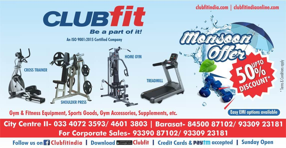 Clubfit Monsoon Offer!!!! Upto 50%OFF on All Products # Treadmill#Ellipticals#Exer Bikes#Home Gyms#Multi Gyms#Massage Chairs#Gym Accessories # Food Supplements & many more...  Visit us today or call us @ 9339087102 / 9330923181
