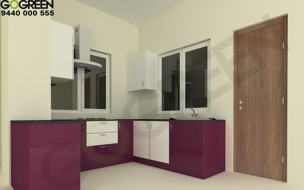 Glossy finished Modular kitchen. We are leading manufacturers of Modular Kitchen and wardrobes
