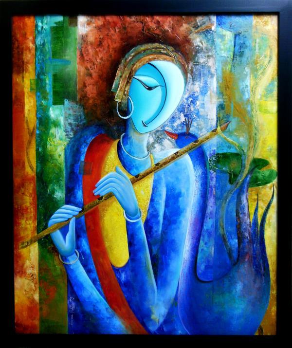 Magical Flute | Oil Painting | Buy online or visit Uchaan Art Gallery, Gurugram