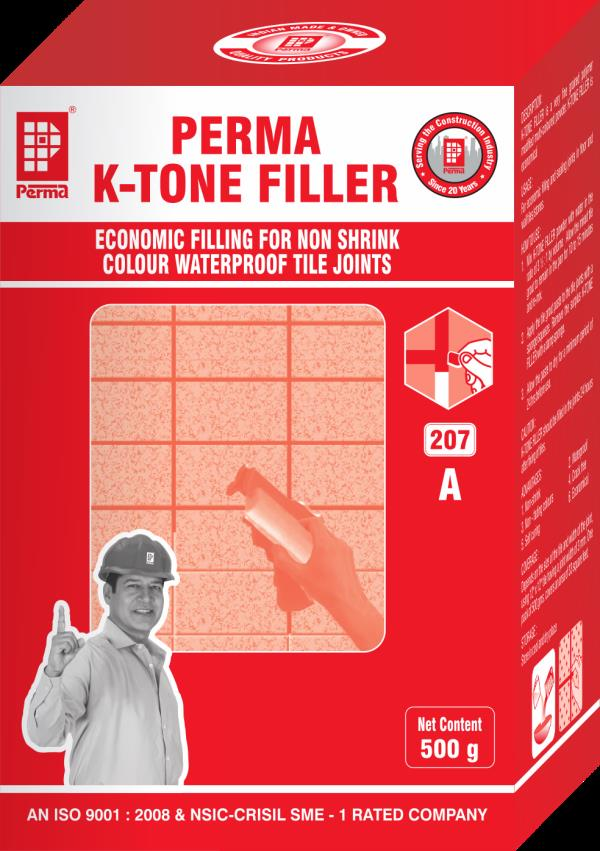 Floor Tiles Joint Filler  Cementitious Coloured Premix Tile Joint Mortar  DESCRIPTION Perma K-Tone Filler (KTF) is a cementitious material in powder form. Perma K -Tone Filler only needs on site addition of water to make a mortar which is used for grouting tile joints. It is also used for grouting the joints between stones, marbles, cut stones etc. Conventional type of grouting with white or coloured cements make the joint rigid and it collects dust, dirt & stains. The cements also have a high shrinkage property & it tends to                      CREATE leakage problems. Perma K -Tone Filler is modified to give high tensile strength, non shrink and waterproof properties. Further the product does not take stains and keeps the joints clean if cleaned properly with a detergent solution periodically.  PRIMARY USES Perma K -Tone Filler is used for grouting tile joints. It is also used for grouting the joints between marble, granite tiles and joints of cut stones and terracotta tiles. Perma K -Tone Filler is specially selected for grouting swimming pool tile joints because of its excellent waterproof properties. ADVANTAGES 1.	Available in a range of pleasant shades. 2.	Joints become crack free. 3.	No staining of the joints. 4.	Makes the tiled area waterproof.