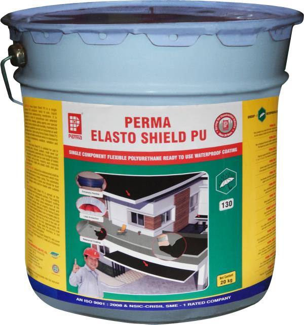 Polyurethane Based Waterproofing   Perma Elasto Shield PU is a Single Component Polyurethane Based Waterproofing System.   Perma Elasto Shield PU is a single component VOC compliant, ready to use, liquid polyurethane based waterproofing membrane. It is composed of a blend of polyurethane and selected hydrophobic fillers, minerals, gelling agents and special stabilizers. It cures by reaction with humidity, maintains its elasticity and is suitable for use both on horizontal as well as vertical surfaces. Upon curing Perma Elasto Shield PU forms a tough and flexible membrane which is resistant to a wide range of temperatures, oxidation, radiation and Ultra Violet light.   PRIMARY USES   Perma Elasto Shield PU is suitable for use in waterproofing roofs, terraces, podium, multi level car parking, terrace gardens, basements etc. It is highly useful in waterproofing wet areas such as sunk slabs of toilets and bathrooms, built up roofs, masonry and concrete walls, bridge decks, metal and plastic roofs and also repairing old roofs.  ADVANTAGES   Perma Elasto Shield PU is non toxic hence complies with green building product requirement.  Perma Elasto Shield PU is a highly elastic product and forms a rubber like membrane which is capable of withstanding severe expansion, contraction and deck movements.  The membrane remains crack free under severe exposures to oxidation, ozone, UV light and temperature conditions.  The product has superior wetting and adhesion properties which ensure superior bond with any kind of substrate and helps in getting over peeling problems.  Perma Elasto Shield PU when applied adapts to any irregular surface forming a waterproof blanket.   PACKING   Perma Elasto Shield PU is available in 20 kg. packs only.