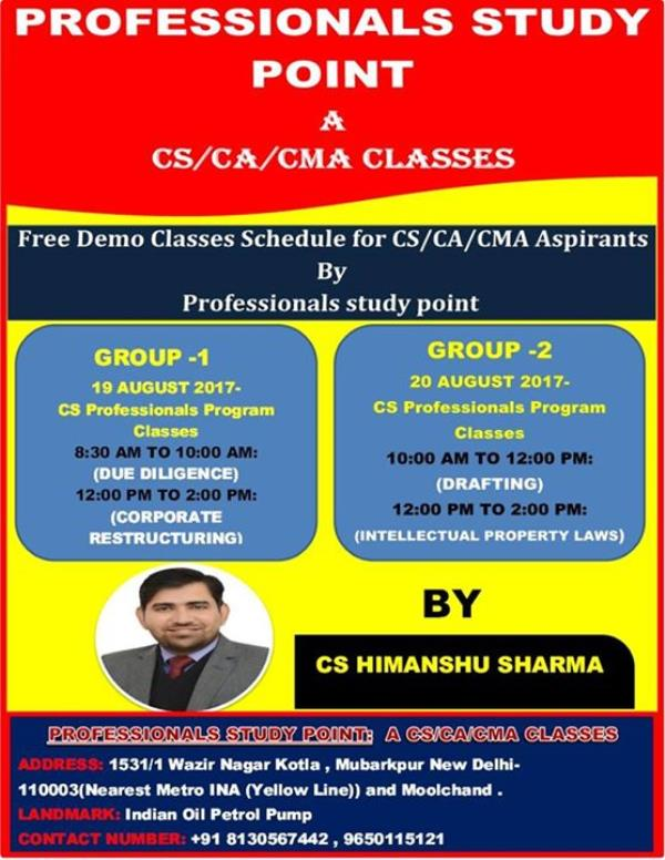 Registration for Free Demo classes of CS Executive & Professionals in South Delhi  http://www.professionalsstudypoint.com/register-for-demo-cscacma-classes-in-south-delhi-on-171819-20th/