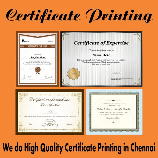 We do high quality Certificate printing in many shades, size, colour and quantity with customized name printing. you can relay skyline for your all printing needs