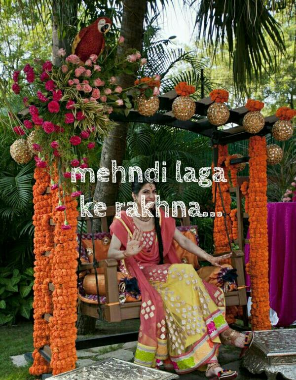 Mehndi Laga Ke Rakhna Doli Saja Ke Rakhna...thats how a happy bride looks like. Celebrate your mehndi with your favorites in you own backyard. Get this floral jhula for extra swag as you prepare for your big day. Made with genda, roses, lilies and flower balls.