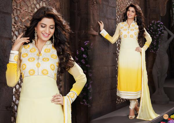 Beauteous Light Yellow color Faux Georgette kameez is prettified with  work and chinese collar is adding allot to its style. Comes with Cream color Poly Silk Bottom and matching Light Yellow Nylon Chiffon dupatta.   http://www.silk-india.com/en/unstiched-salwar-kameez/1079-teal-blue-net-anarkali-churidar-kameez-i-024.html