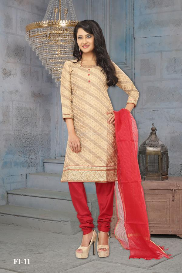 Conspicuous beige color Poly Cotton Brocade kameez created on cotton prettified with work having and 3/4 sleeves is an extraordinary creation. Comes with Red color Poly Silk Bottom and Chanderi dupatta.  http://www.silk-india.com/en/all/890-designer-salwar-kameez-churidaar-suit.html
