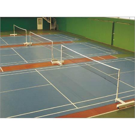 Badminton Court Our Badminton Court system we design for Badminton sports are made out synthetic rubber with proper cushioning and hardness. These courts have got a wide usage for badminton sports.  We make use of Indian as well as imported timber to manufacture these courts, as per the clients' requirements.