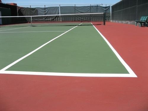 Tennis Court Surface We have become popular among our clients by offering a wide range of Tennis Court Surface in different sizes and specifications. Constructed using premium quality materials, our collection meets varied quality standards.  Other Details:  Effective ball response, bounce and vision quality Affordable, maintenance free and long-lasting multi-sport flooring Use of EPDM rubber air- cush pads Tightly interlocked Tongue and Groove System Exclusive use of Bona Polish which is Anti Skid and DIN approved. Polyurethane lacquer at the bottom side of surface board to prevent moisture gains. Internationally approved and technically sound laying system. Safe and injury free playing surface Request Callback