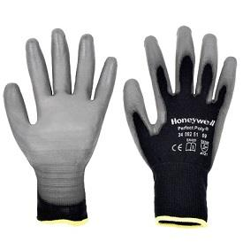 Honeywell Perfect Poly Black (P/n- 2400251) • Black polyamide knitted glove. Grey polyurethane coating on palm and fingertips.  • The ventilated back and PU coating optimize the glove's breathability. • Polyamide with its polyurethane coating provide excellent abrasion and tear resistance. The PU coating ensures a good grip. • Non pilling, the polyamide is suitable for precision work. • The gloves are certified as