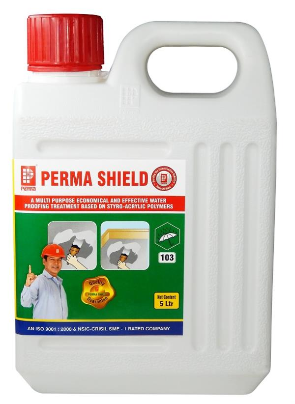 Water Proofing Compound Suppliers   We manufacture waterproofing compound for the construction industry.   Perma Shield is AN EFFECTIVE AND ECONOMICAL STYRO ACRYLIC BASED WATERPROOFING SYSTEM  Perma Shield is a straw colored liquid which has excellent waterproofing and protection properties. Perma Shield is effectively used in arresting nagging leakages and dampness from walls and protecting exposed reinforcements. Perma Shield is flexible upon curing and it forms a membrane coating on the applied area.  PRIMARY USES  For waterproofing terraces. For arresting rising dampness. For Protection of exposed reinforcing steel rods. For water proofing leakages from toilet units and sunk slabs. For water proofing damp walls. As an effective paint additive. For waterproofing porous plaster surfaces.  Perma Shield is available in 500 ml, 1 ltr, 5 ltr, 10 ltr, 25 ltr & 100 ltr containers.