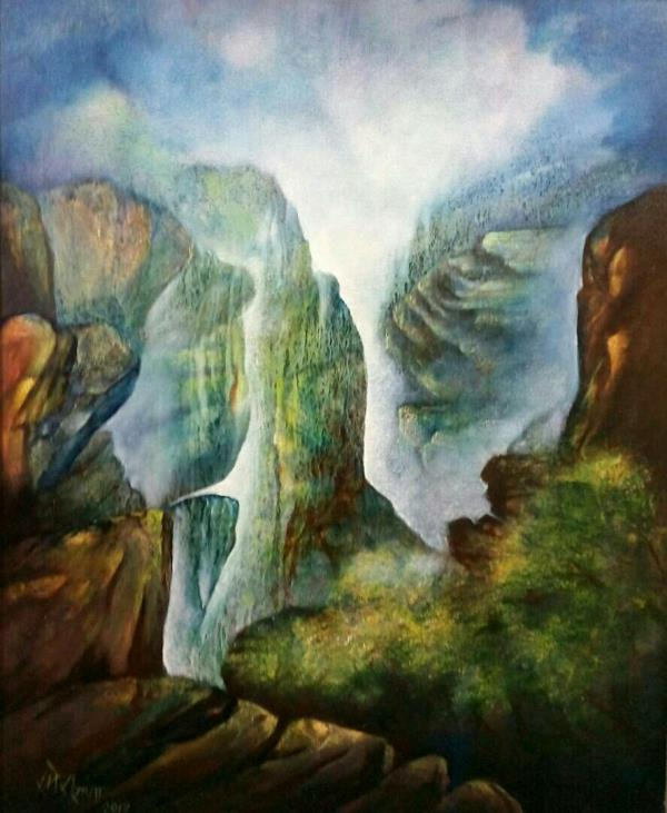 Beautiful landscape Buy on line original  paintings at Uchaan Art Gallery,  Gurgaon
