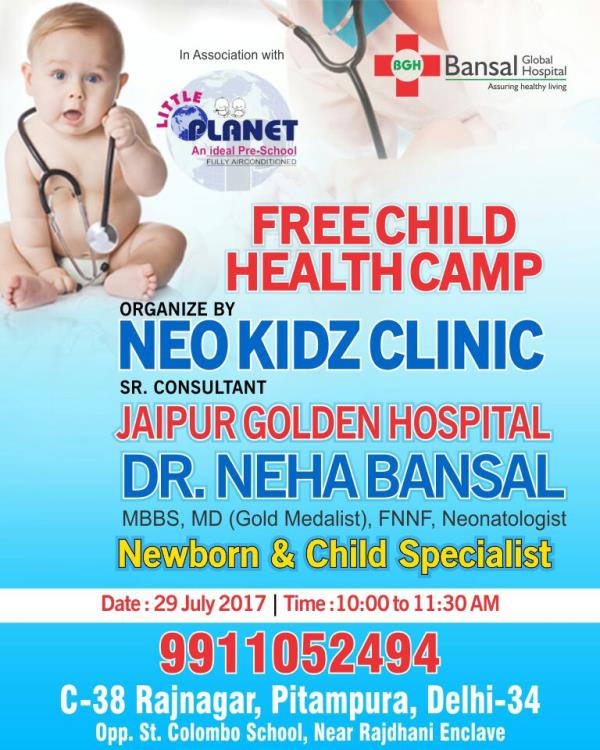 A free child health camp was organized by Neo Kidz Clinic, Pitampura on 29-July-2017 at 10:00 to 11:30 AM. The camp was organized and managed by our experienced and competent pediatrician, Dr. Neha Bansal and was a great success! More than (number) children turned up with their parents to go for a regular check up. During the camp, it was found that even children who seem to be normally healthy can also be under influence of germs and bacteria which takes time to show up and can be dangerous to the health of the child. Therefore, even minutest discomfort identified by your child must not be ignored for long. To be on the safer side, always go for regular check up(s) at a good child care center. Dr. Neha Bansal is also available for appointment at Bansal Global Hospital and have prior experience in child health care starting from the very day they are born. All latest amenities required for child examination and relevant vaccinations are also available at the hospital.