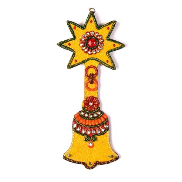 Buy Wooden Kundan Meenakari Aarty Bell Key Stand Online in Anand  This Handcrafted Bell shape Keychain Holder is made of wood and decorated with Kundan meenakari work. The gift piece has been prepared by the creative artisans of Jaipur.  Click on the below link to view the product:  http://littleindia.co.in/wooden-kundan-meenakari-aarty-bell-key-stand-325/p558